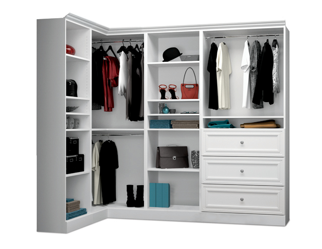 Shown Is The Ready To Emble Bestar Corner Closet 40854 17 Closets Are Available At Costco Embly Required